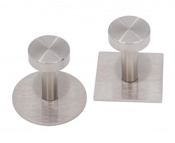 """Handtuchhaken Typ """"Uschi"""" in Edelstahl Platte rund oder eckig mit Scheibe D=24x8mm oder D=28x10mm ma"""