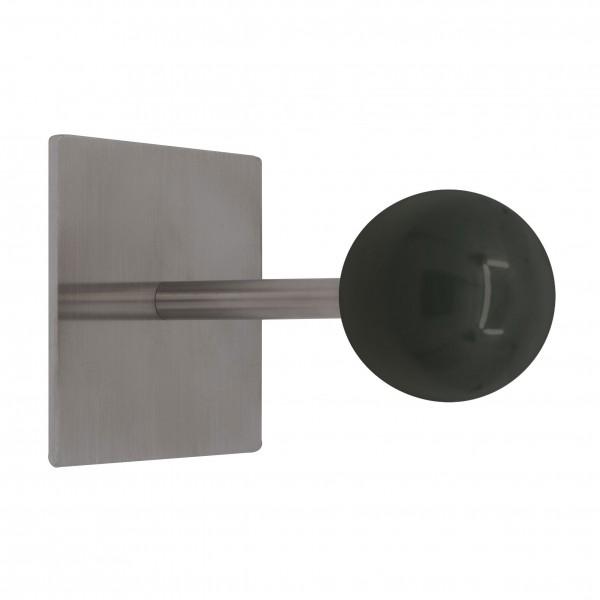 Wandhaken Typ Sam 2 mit Holzkugel 48mm, Platte 80x80x3mm, Lg. 111mm