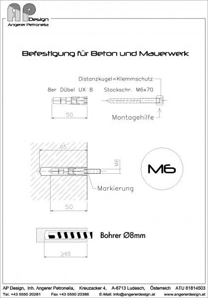 Befestigung für Beton u. Mauerwerk mittels M6