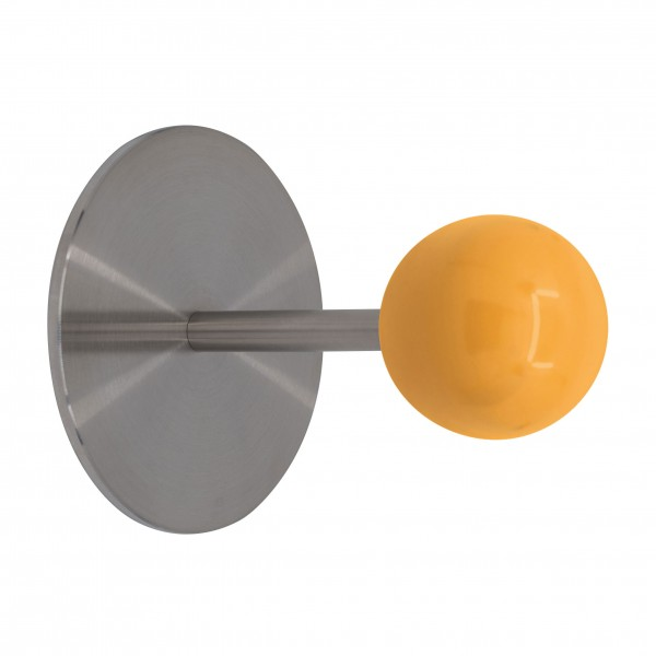 Wandhaken Typ Sam 1 mit Holzkugel 48mm, Platte D=100x3mm, Lg. 111mm